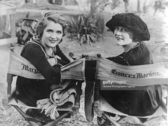 """Mary Pickford & director Frances Marion on the set of """"Straight is the way"""" -Dec 1920"""