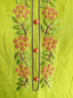 Fresh leaf green Kurta in Linen Silk with Intricate Knot work and Pintucks Detailing. Embroidery On Kurtis, Hand Embroidery Dress, Kurti Embroidery Design, Indian Embroidery, Embroidery Fashion, Beaded Embroidery, Embroidery Stitches, Embroidery Patterns, Zardozi Embroidery