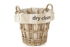 """One Kings Lane - The Laundry Room - """"Dry Clean"""" Stripe Basket, Large"""