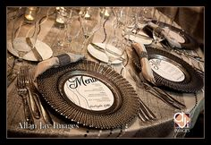 Tabletop beauty Chargers by Chair Affair design by Joie De Vie