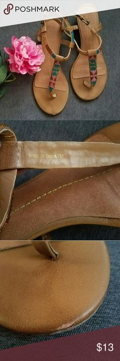 DV by Dolce Vita t strap brown sandals Really pretty sandals size 7M All the signs of damage are pictured. ( priced accordingly ) Dolce Vita Shoes Sandals