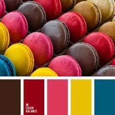 алый, атласный синий, бордовый, винно-красный, винный красный, желтый, розовый, синий, цвет вишневых макарун, цвета кофейных макарун, цвета макарун, шафрановый желтый, шоколадный, яркий розовый.