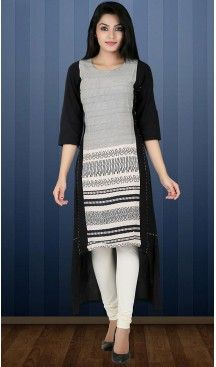Black Color Cotton Wrap Style Readymade Kurti | FH482774413 #kurti, #kurtas, #tunics, #top, #fashion, #clothing, #women, #heenastyle, #ladies, @heenastyle , #teenagers, #girls, #style, #mode, #mehendi, #longtop, #readymade , #boutique, #cotton, #casual, #formal, #indian, #straight