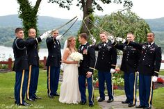 Beautiful West Point wedding with sabers and the gorgeous Hudson River in the background. See more great photos from Small Moments Studios here:  http://smallmomentsstudios.com/blog/tag/west-point-wedding-photography/
