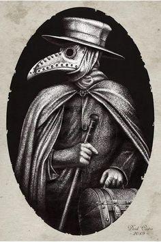 Plague Doctor Mini Art Print by Derek Arts - Without Stand - x Plague Mask, Plague Doctor Mask, Plague Dr, Dark Fantasy Art, Dark Art, Black Plague Doctor, Plauge Doctor, La Danse Macabre, Doctor Tattoo
