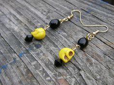 Yellow Skulls and Black Glass Earrings by SavannahVoodoo on Etsy, $8.00