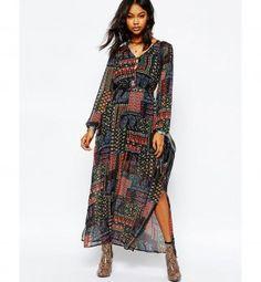 Robe pour petite poitrine : une maxi robe patchwork, Boohoo, 29,99€
