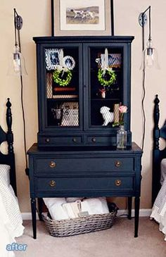 Beautiful blue-black color #cabinets #painted #furniture