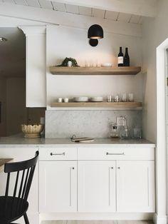HIVE & PATTERN Kitchen Bar Nook, Floating Shelves, Faux Shiplap, Cedar and Moss Lighting, West Elm Barware