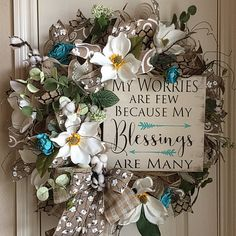 Sharing a wreath by Custom Wreaths by Rosemarie (initial door hangings diy wreath) Wreath Crafts, Diy Wreath, Wreath Ideas, Deco Mesh Wreaths, Door Wreaths, Easter Wreaths, Christmas Wreaths, Country Wreaths, Magnolia Wreath