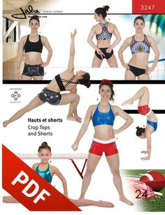 Our popular Crop Tops and Gym Shorts pattern (Jalie 3247) is now available in PDF format!