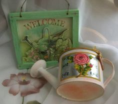 Vintage Welcome sign  watering can  Hallmark sign by NewtoUVintage