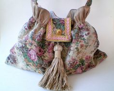 15 COUPON SALE Beige rose handbag gypsy boho by BoudicaBags, $69.00
