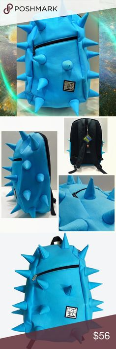 "Cyber Spike Backpack Pastel blue spiky backpack by MadPax. NWT/unused. Cyber futuristic rave style. Unique af. Material is a textured synthetic pleather. Durable and well built unlike the cheap eBay ones. Slightly padded back for comfortability. Front zip pouch and large main compartment. Spikes are stuffed. Size is approx. 18"" x 13"" x 8"". Last pic shows size. True color is a tad more baby blue then pics. Not unif. Tagged for style similarities. #cyber #kawaii #goth #punk #rave #edc…"