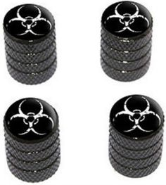 """Amazon.com : (4 Count) Cool and Custom """"Diamond Etching Biohazard Symbol Top with Easy Grip Texture"""" Tire Wheel Rim Air Valve Stem Dust Cap Seal Made of Genuine Anodized Aluminum Metal {Zombie Maserati Black and White Colors - Hard Metal Internal Threads for Easy Application - Rust Proof - Fits For Most Cars, Trucks, SUV, RV, ATV, UTV, Motorcycle, Bicycles} : Sports & Outdoors"""