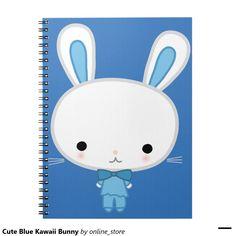 Cute Blue Kawaii Bunny Notebook