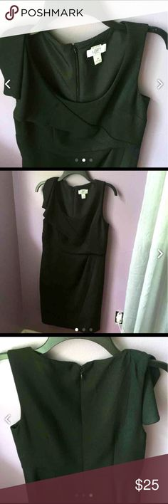 "Black ""scuba"" dress 8P NWOT!! Ann Taylor Loft form-fitting ""scuba"" dress.  Asymmetrical bodice.  7"" slit in back for easier movement.  36"" from shoulder to hem.  High quality fabric.  Formal to semi-formal. Worn once. What a stunner!! LOFT Dresses Midi"