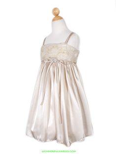 Champagne Elegant Chiffon Rosette Bodice Girl Dress