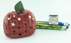 AG Designs Teacher Decor - Red Metal Apple Tealight with Magnet #04-28/14 by AgapeGiftsOnline on Etsy