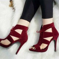Women's Burgundy Suede Hollow-out Lace Up Heels Stiletto Heel Sandals