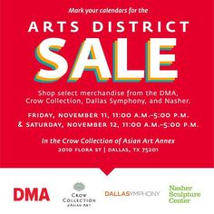 Need some retail therapy? Find some sweet deals this Friday & Saturday at the @dallasartsdistrict  store sale featuring items from @dallasmuseumart @nashersculpturecenter and the #DallasSymphonyOrchestra. #CrowLotusShop