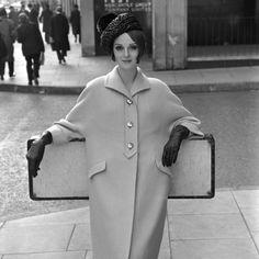 Grace Coddington wearing wool coat, photo by John French, Moda Fashion, Retro Fashion, Fashion Models, Fashion Black, Fashion Vintage, Fashion Wear, Victorian Fashion, Ladies Fashion, Fashion Fashion