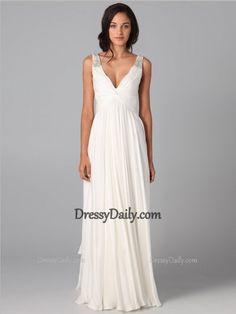 Fashion A-line V-neck Beading Sleeveless Floor-length Chiffon Dress - Evening Dresses - Social Occasion