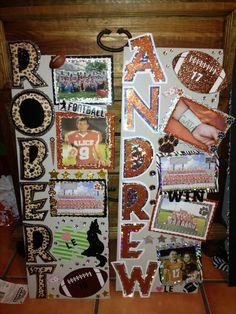 Letters off side of sign, or a long sign with names that we add a small card to each week Football Spirit, Football Cheer, Football And Basketball, Football Banquet, Football Stuff, Senior Football Gifts, Football Fonts, Football Posters, Sports Posters