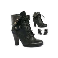 B8 WOMENS LADIES BLACK MID HEEL LACE UP MILITARY COMBAT WORKER ANKLE... ❤ liked on Polyvore