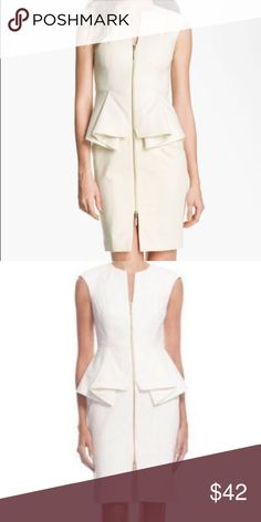 Ted baker white peplum dress nwot Brand new never worn but without tags. White peplum with gold zipper up from. It is a ted baker size 0, which on their website it says ted baker=us size 0. But I think the dress is a 0, as I'm a 2 and it doesn't fit me. Ted Baker Dresses Mini