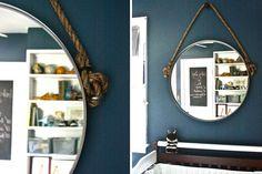 Rope Hanging Mirror: Ikea mirror + rope = amazing hack! Bravo. (via Apartment Therapy)   Brit + Co.