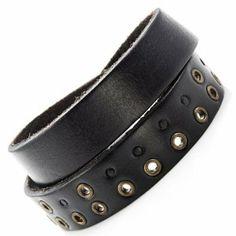 R&B Bijoux - Bracelet de Force Homme - Ajustable Vintage 2 Tours - Métal Bronze - Manchette Cuir (Noir). 14,90€