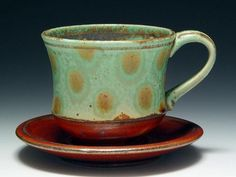Elenor A. Wilson: Cup & Saucer  Cup# 134 Stoneware, Cone 10, 4 x 6 x 6 Inches.