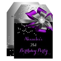 Modern floral purple watercolor birthday party invitation pinterest purple black silver bow pearl birthday party invitation stopboris Images