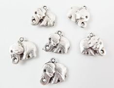 6 Rustic Cast Elephant Charms  Matte Silver Plated by LylaSupplies, $5.30