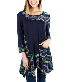 Look at this #zulilyfind! Black & Neon Zigzag Handkerchief Tunic #zulilyfinds
