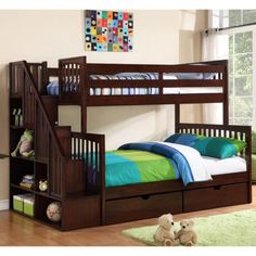 Darren Twin over Double Staircase Bunk Bed I want some form of a bunkbed in my new room Staircase Bunk Bed, Bunk Beds With Stairs, Double Staircase, Cool Bunk Beds, Kids Bunk Beds, Boys Bedroom Ideas With Bunk Beds, Girls Bedroom, Bedroom Decor, Double Bunk Beds