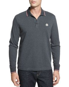 Tipped Long-Sleeve Polo Shirt, Gray, Size: LARGE - Moncler