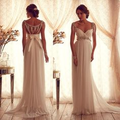 Summer Bridal Dresses 2015 Flattering A Line Backless Beach Maternity Wedding Dress Gowns Chiffon Beaded with Bow W3976 Online with $140.74/Piece on Store005's Store | DHgate.com