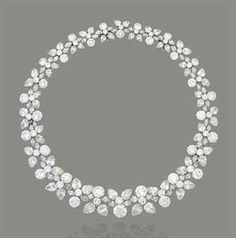 AN IMPORTANT DIAMOND 'HOLLY WREATH' NECKLACE, BY HARRY WINSTON  The graduated collar composed of a continuous series of pear and brilliant-cut diamond trefoil clusters, joined by marquise-cut diamond connections, to a concealed clasp, can detach to form a pair of bracelets, 1960s, 41.6 cm Signed Winston, no. 4984. Estimate  $1,645,022 - $2,741,703  Price Realized   $1,823,286