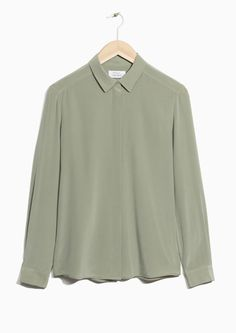 & Other Stories image 1 of Classic Silk Shirt in Khaki Green