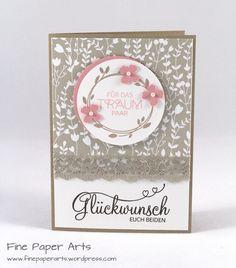 """Und nun das 3. Projekt unseres Workshops: Eine Hochzeitskarte wurde gewünscht und so hatte ich eine Karte vorbereitet, die mit dem hübschen Designerpapier """"Trau Dich"""" und dem zur Hochze…"""