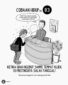 Komik Biebo: Cobaan Hidup by Komik Biebo Life Problems, San Andreas, Health And Safety, Funny Comics, Slogan, Haha, Jokes, Cartoon, Humor