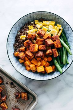 BBQ-spice-crusted baked tofu that's made in a snap. Serve it in bowls, add it to salads, or eat it straight off the pan! Spicy Coleslaw, Coleslaw Mix, Easy Dinner Recipes, Appetizer Recipes, Vegetarian Recipes, Healthy Recipes, Tofu Recipes, Vegetarian Protein, Bbq Tofu