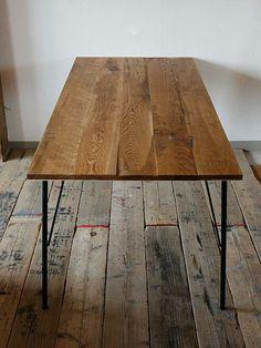 画像1: ≪テーブル≫【鉄脚ダイニングテーブル 無垢オーク/12サイズ/ラフ仕上げ】 (1)