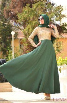 Minel Aşk Tesettür Elbise 5020-01 Yeşil