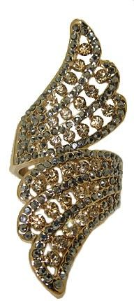Hematite & Light Colorado Topaz Crystal Ring