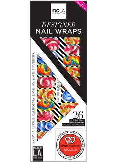 Lickables - pop candy swirl inspired colorful nail wraps that are cruelty free and sugar free