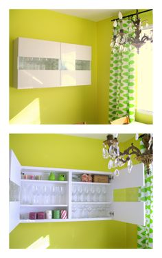 Ikea Besta shelf extension unit mounted to the wall for floating bar storage