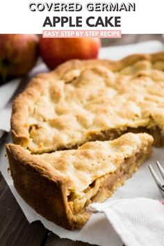 Covered German Apple Cake is one of the best apple cakes! Filled with cinnamon-seasoned apple chunks and topped with a vanilla shortbread crust. You can get this cake in every German bakery! Best Easy Dessert Recipes, Easy Baking Recipes, Party Recipes, Easy Desserts, Sweet Recipes, Apple Cakes, Apple Cake Recipes, Pie Recipes, Fall Recipes